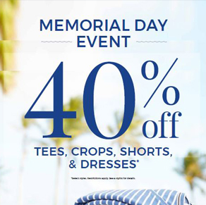Chico's – Memorial Day Sale – 40% off Tees, Crops, Shorts & Dresses*